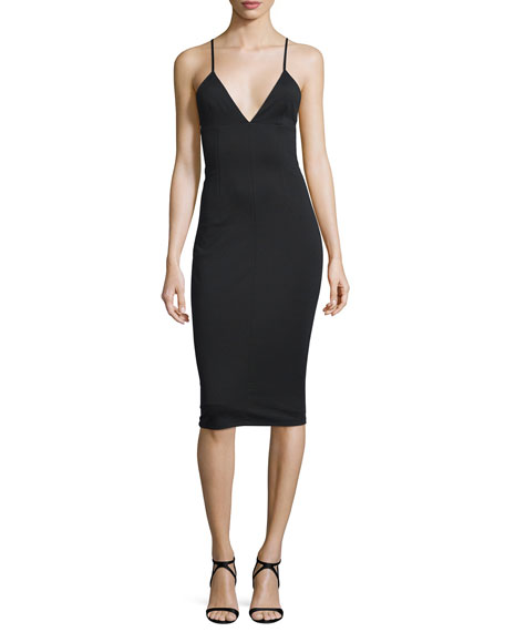 Fitted High-Lux Ponte Midi Dress, Black