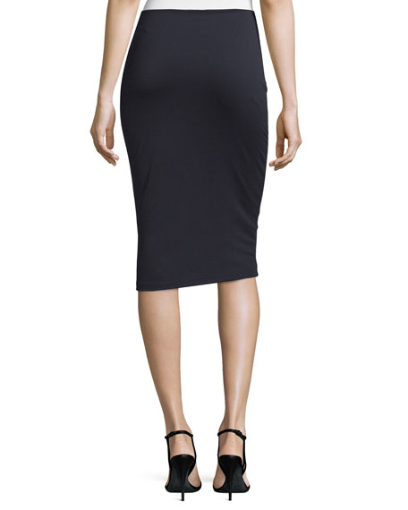 High Lux Ponte Midi Skirt, Navy