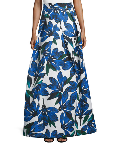 Floral-Printed Ball Skirt, Blue