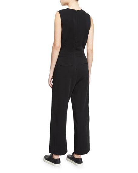 Edwards Sleeveless Wide-Leg Jumpsuit, Black