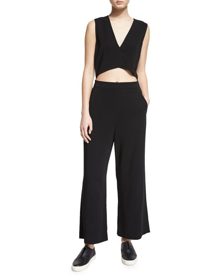 Edwards Sleeveless Wide-Leg Jumpsuit, Black