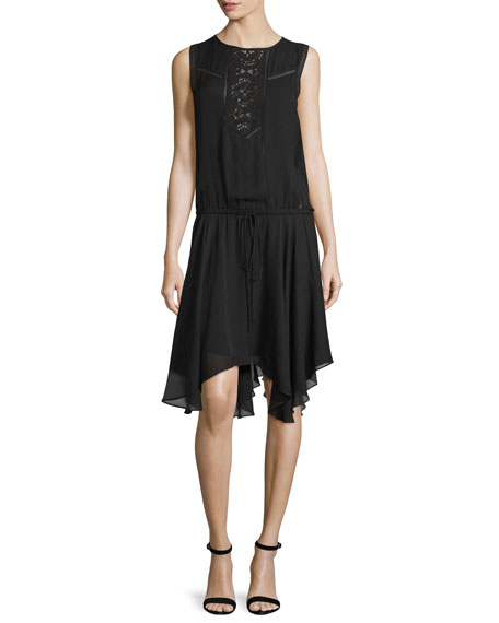 A.L.C. Meloni Sleeveless Silk Handkerchief Dress, Black