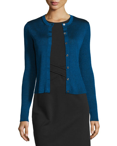 Shayda Ribbed Wool-Blend Sweater, Blue Riviera/Black
