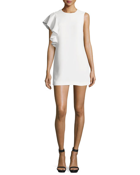 Luca Crepe Ruffle-Trim Mini Dress, Ivory
