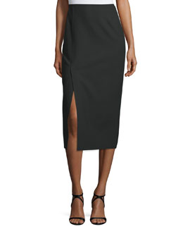 Theo Crepe Pencil Skirt, Black