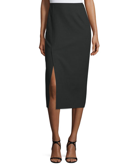 Theo Crepe Pencil Skirt, Black