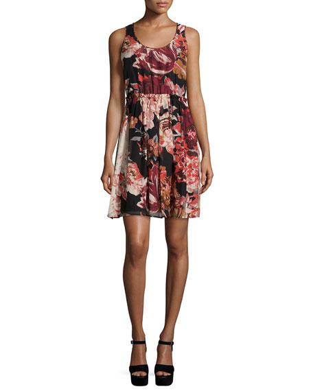 Elizabeth and James Sleeveless Floral Silk Mini Dress,