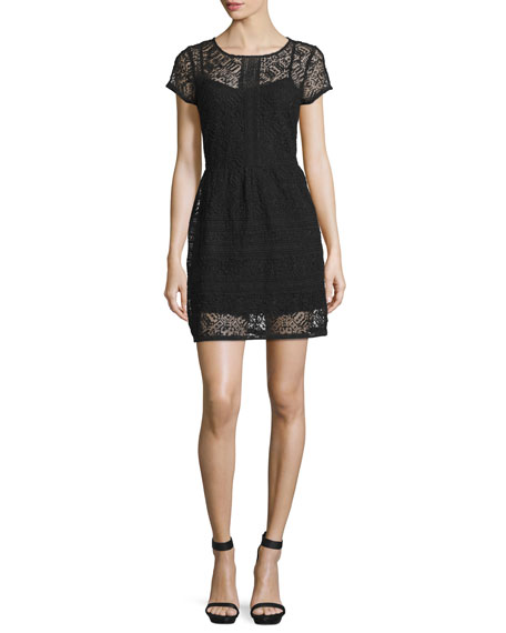 Delarosa Embroidered Lace Dress