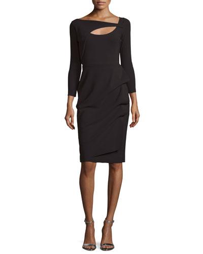 Nuria 3/4-Sleeve Yoke-Cutout Cocktail Dress