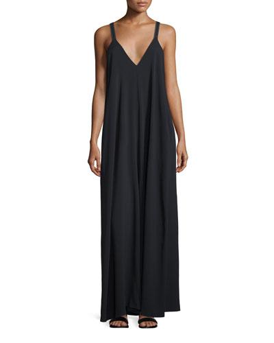 Sleeveless Jersey Maxi Dress, Black
