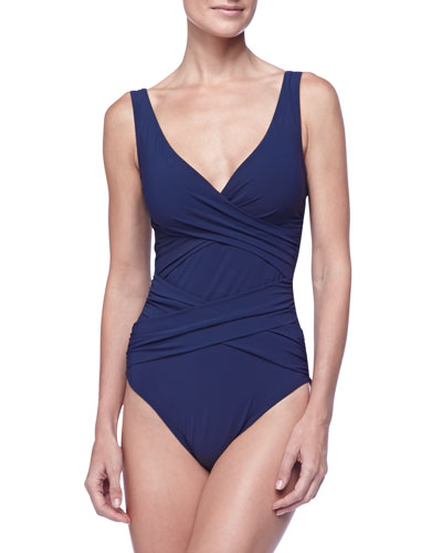 Smart Suit Wrap-Front One-Piece Swimsuit