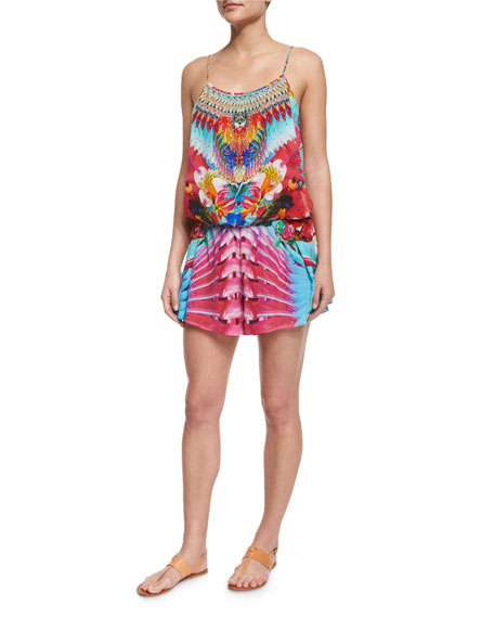 Camilla Printed Beaded Short Romper Coverup