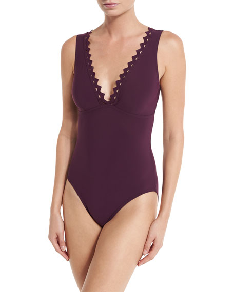 Rick Rack Scalloped-Neck Underwire One-Piece Swimsuit