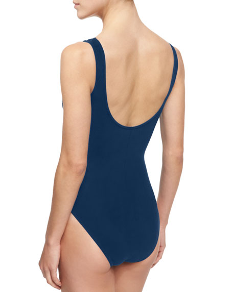 Ring Zip V-Neck Underwire One-Piece Swimsuit