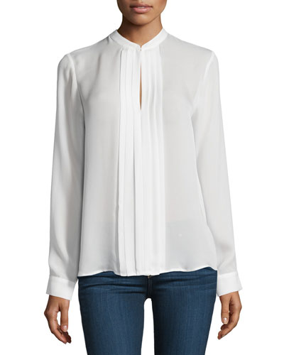 Lauren Long-Sleeve Pleated Silk Blouse, Ivory