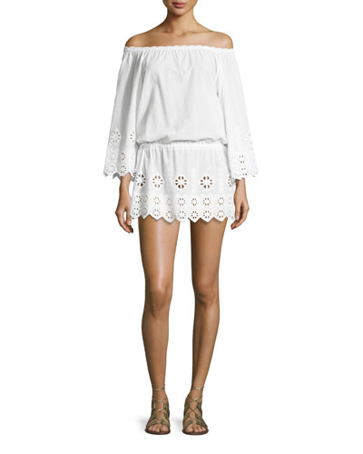 Gabriela Geometric-Embroidered Off-The-Shoulder Dress, Pure White