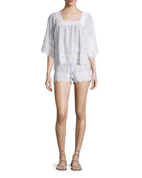 Minnie Geometric-Embroidered Shorts, Pure White