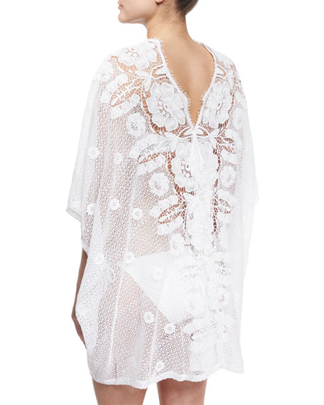 Kara Hibiscus Netted-Lace Caftan Coverup