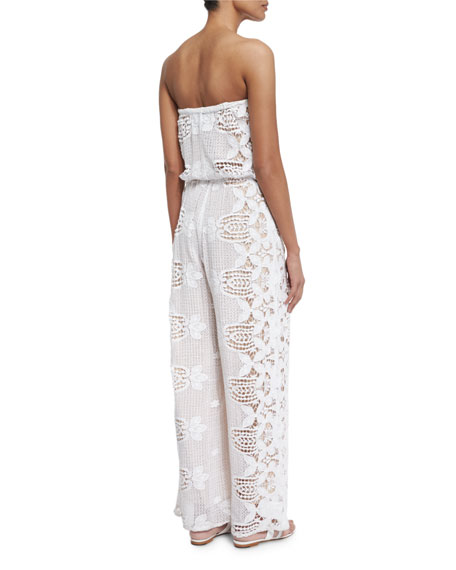 Piper Strapless Lace Jumpsuit Coverup, Pure White