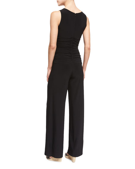 Sleeveless Shirred-Waist Jumpsuit