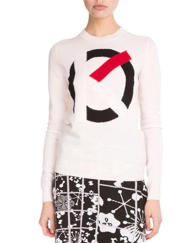 Wool Logo-Intarsia Sweater, White