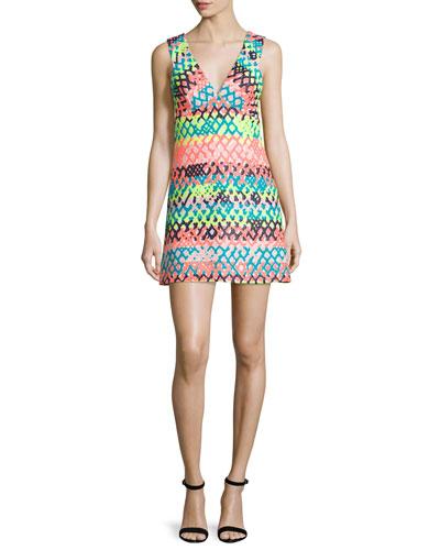 Bridgette Sleeveless V-Neck Mini Dress, Multi Colors