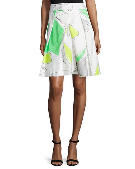 Clarisa Floral-Print Skirt, Green/Multi