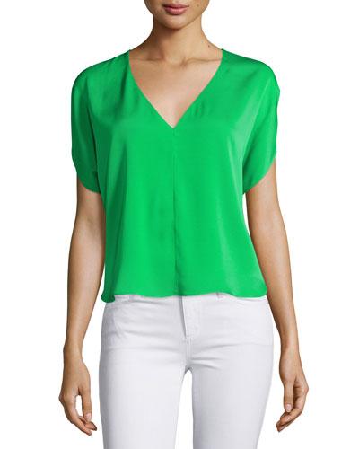 Dolman-Sleeve V-Neck Top, Green