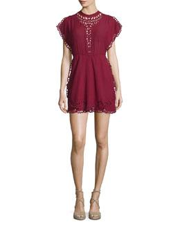 Caidy Laser-Cut Mini Dress, Wine
