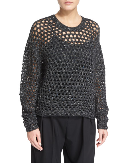 Montero Netted Pullover Sweater, Black