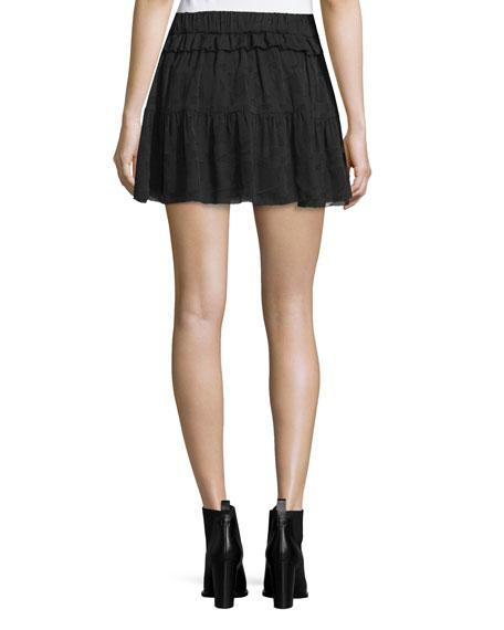 Carmel Tiered Chiffon Skirt, Black