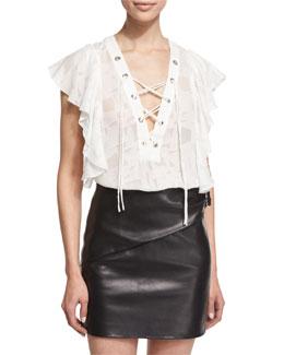 Gilka Printed Lace-Up Top, Ecru