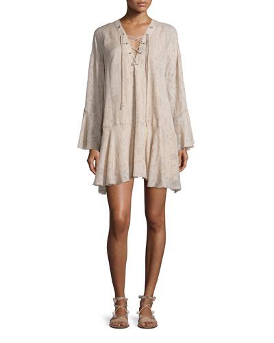Ralene Printed Chiffon Shift Dress, Nude