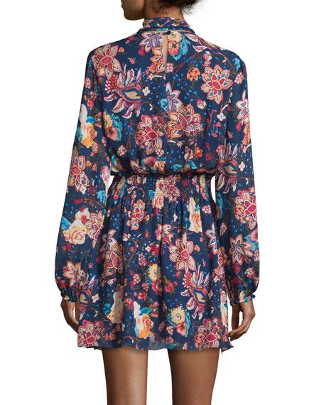 Free Love Floral Silk Mini Dress, San Franciscan Night