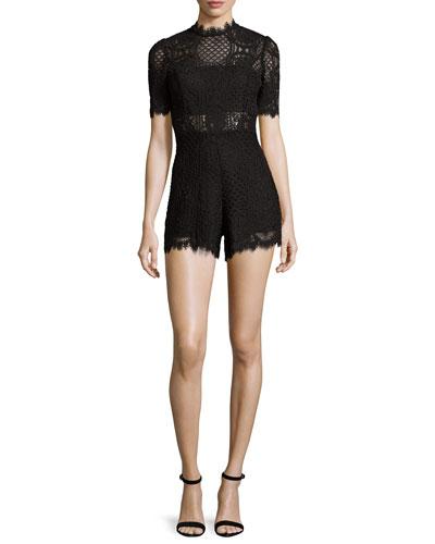 Heidi Lace Short-Sleeve Romper, Black