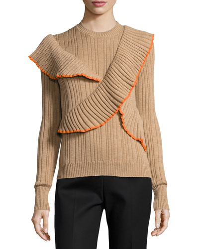 Ribbed Cross-Front Wool Sweater, Tan