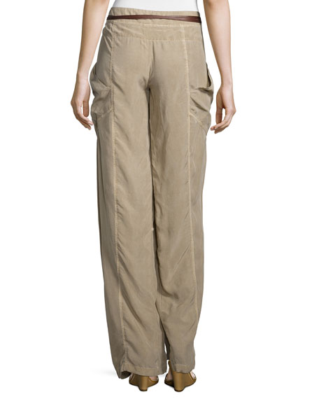 Wide-Leg Wrap Pants, Twine