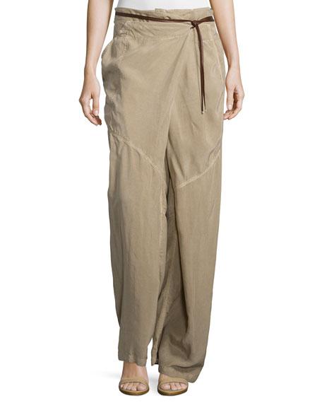 Wide-Leg Wrap Pants, Twine