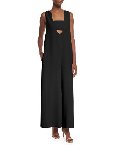 Talene Sleeveless Woven Jumpsuit, Black