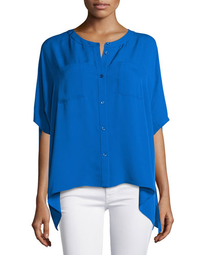 Karrly Dolman-Sleeve Silk Button-Front Top, Blue Riviera