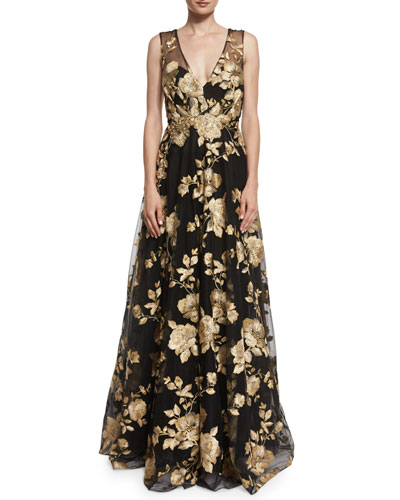 Sleeveless Floral-Embroidered Ball Gown, Black