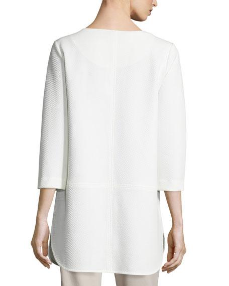 Plus Size 3/4-Sleeve Lattice-Trim Tunic