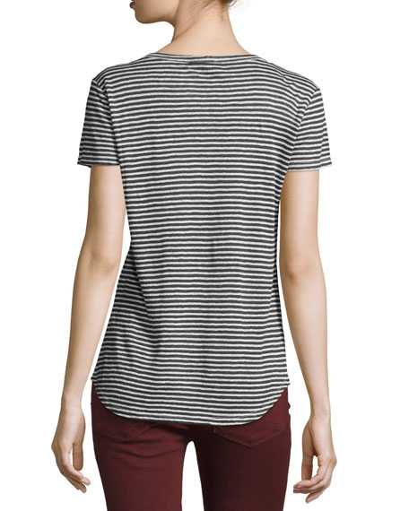 Lynnea Striped Linen V-Neck Tee, Phantom/White