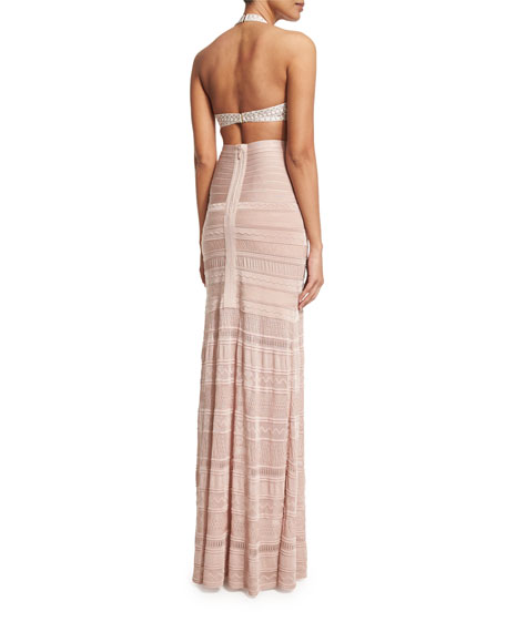 Embroidered Bandage Coverup Maxi Skirt, Bare