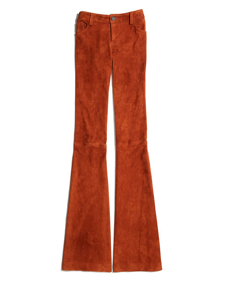 Suede Flare Pants, Tan