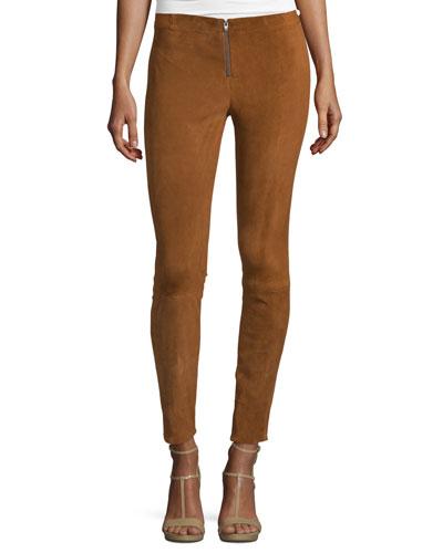 Front-Zip Suede Leggings, Tan