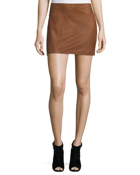 Sophya Suede Mini Skirt, Tan