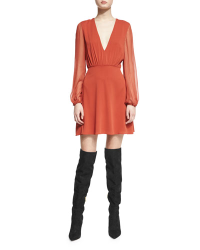 Cary Long-Sleeve Stretch Silk A-Line Dress, Dark Orange