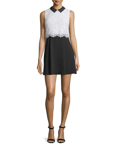Desra Sleeveless Lace & Crepe Dress, Black/White