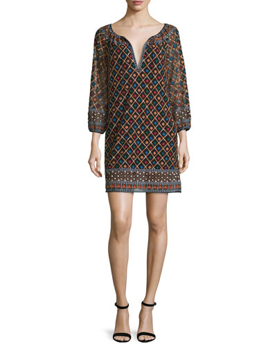 Gillian 3/4-Sleeve Embroidered Mini Dress, Multicolor